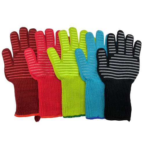 EN407 Level 4 Flame Retardant Aramid Heat resistant Cool hand Grill BBQ Gloves for Kitchen Fireplace Oven Barbecue Grilling