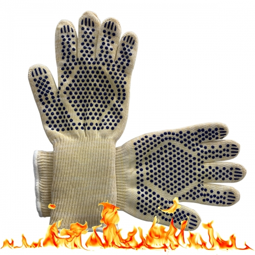 500 Degree Flame Retardant High Heat Resistant Kitchen Pot Holder Oven Cooking Gloves with Silicone Grip palm