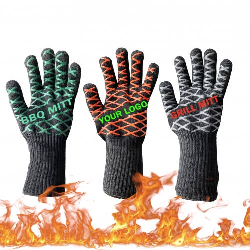 Fire Protective 500 Degree High Heat Resistant Kitchen Oven Silicone BBQ Gloves Pit Mitt or Grilling Fireplace Baker