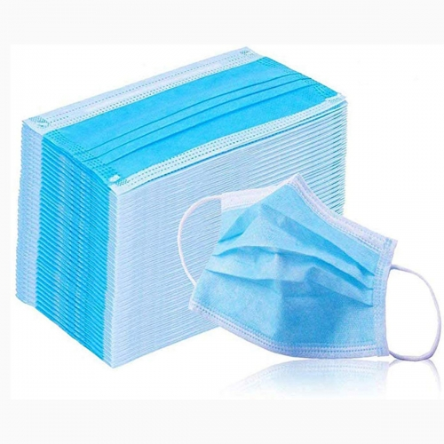 Daily use In stock Three layers Disposable face Mask 3 ply non woven Pleated Blue White mask kids adults Face mask Earloop